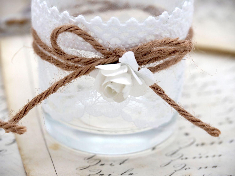 2x Teelichtglas MIRA Vintage Hochzeit Weiß Glas Tischdeko Deko