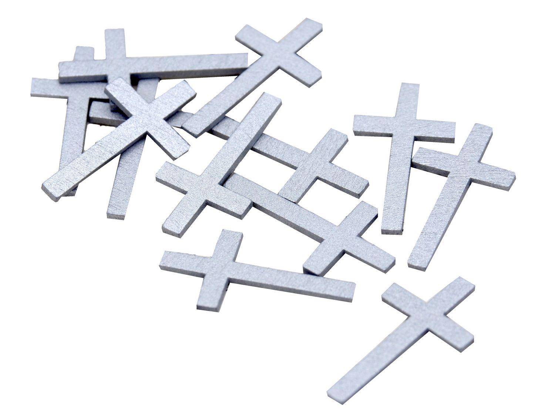 Streudeko Tischdeko Kreuz Kommunion Konfirmation 16 Stück Holz Silber Weiß