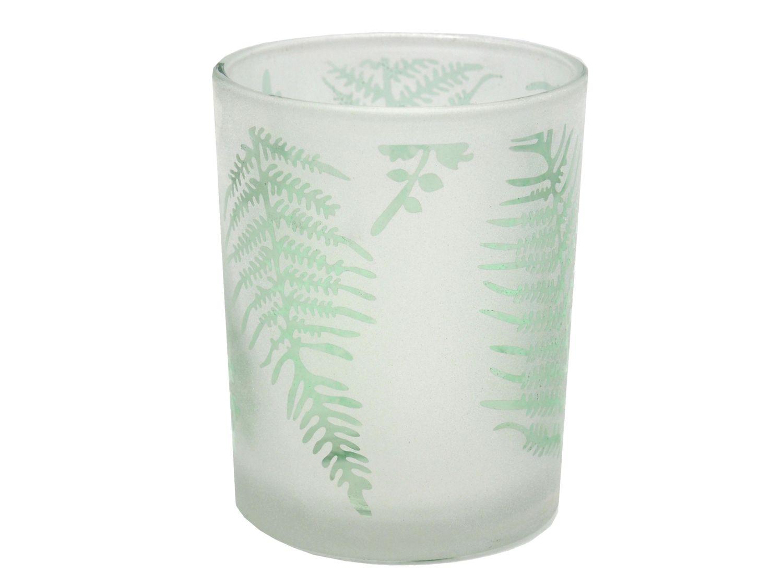 Kerzenglas Windlicht Blätter Grün Sommer Tischdeko Deko 12,5cm Garten Terrasse