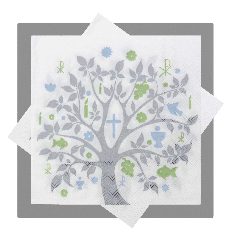 Servietten Baum des Lebens Grau Tischdeko Kommunion Konfirmation Lebensbaum SET 20+20 Stück