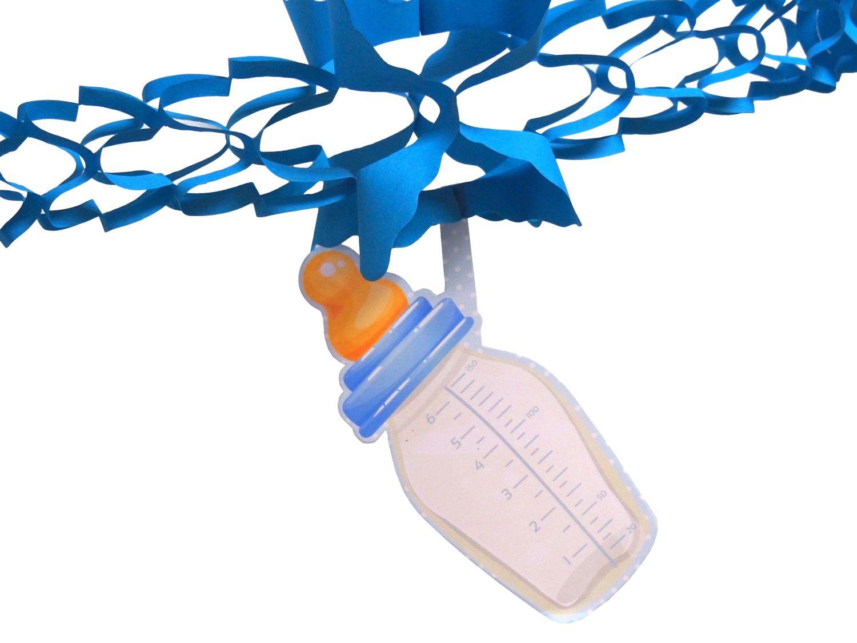 Partydeko Taufe Baby Babyshower Geburt Mädchen Junge Papiergirlande Girlande Blau Rosa 2 Stück