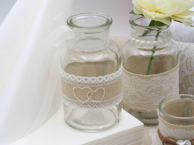 Tischdeko Hochzeit Vintage Natur Weiß Spitze Geburtstag Silberhochzeit SET