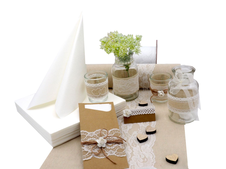 tischdeko hochzeit vintage natur wei set hochzeit tischdeko komplettsets. Black Bedroom Furniture Sets. Home Design Ideas