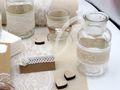 Tischdeko Hochzeit Vintage Natur Weiß Spitze Geburtstag Silberhochzeit SET 9