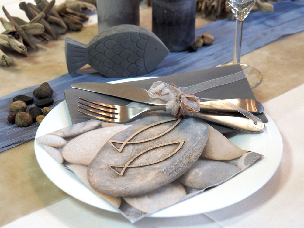 Tischdeko kommunion konfirmation fisch rund beton set 20 for Tischdeko fisch