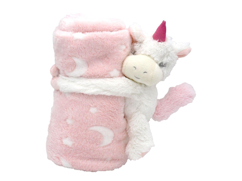 Baby Kuscheldecke Schmusedecke Krabbeldecke Kinderwagendecke mit Plüschtier Einhorn Rosa