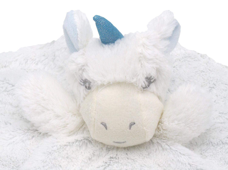 Schnuffeltuch Schmusetuch Kuscheltuch Trösterchen Stofftier Einhorn Baby Rund Geburt Taufe Weiß Blau