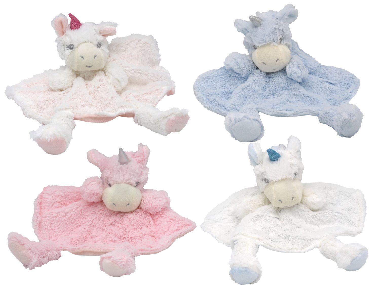 Schnuffeltuch Schmusetuch Kuscheltuch Trösterchen Stofftier Einhorn Baby Rund Geburt Taufe Rosa Blau