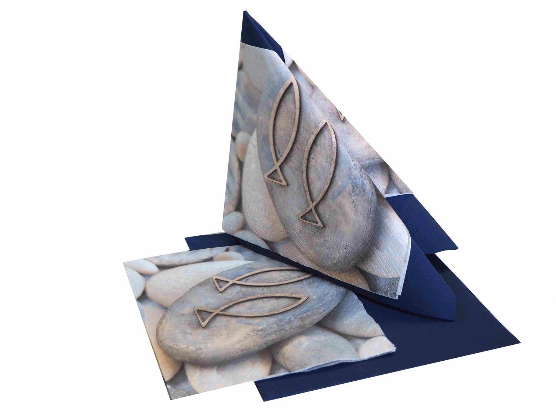 Tischdeko Kommunion Konfirmation Blau Grau Weiß Fisch SET 20 Personen