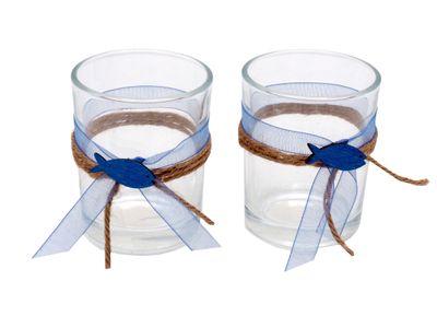 2x Teelichtglas Kommunion Konfirmation Tischdeko Blau Fisch Vintage DAVID