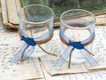 2x Teelichtglas Kommunion Konfirmation Tischdeko Blau Fisch Vintage DAVID 3