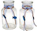 2 Vasen Kommunion Konfirmation Tischdekoration Blau Fisch Natur Vintage DAVID 1