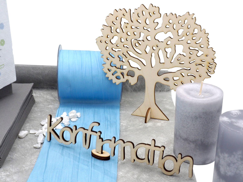 Tischdeko Kommunion Konfirmation Blau Hellblau Grau Weiß Baum SET 20 Personen