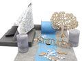 Tischdeko Kommunion Konfirmation Blau Hellblau Grau Weiß Baum SET 20 Personen 1