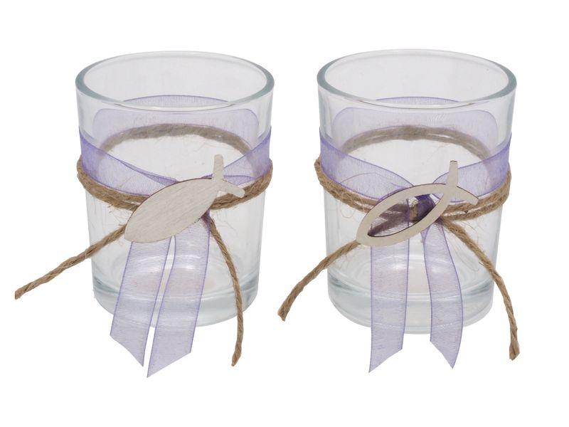 2x Teelichtglas Lila Fisch Vintage Kommunion Konfirmation Tischdeko