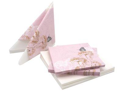 Servietten Schmetterling 20+20 Stück Rosa Weiß