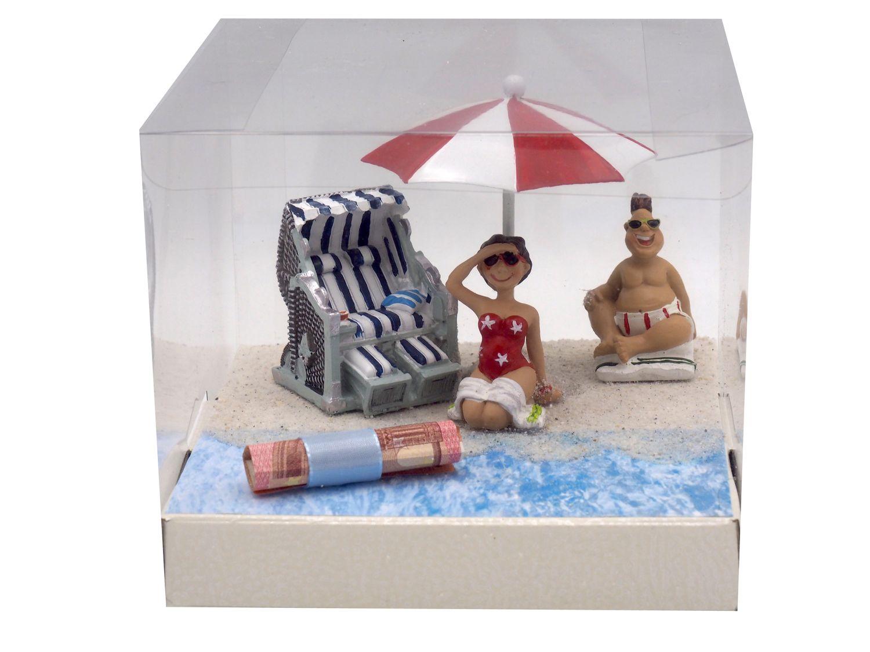 Geldgeschenk Verpackung Geldverpackung Nordsee Ostsee Sonnenschirm Strandkorb Urlaub Reise