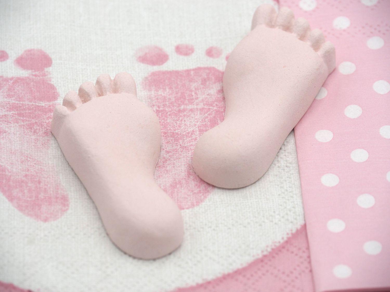 Deko Füße Babyfüße Rosa Taufe Mädchen Geburt Tischdeko Stewalin