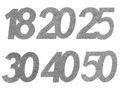 6 Stück Streudeko Geburtstag Tischdeko Zahlen Silber Glitzer Jubiläum Partydeko 1