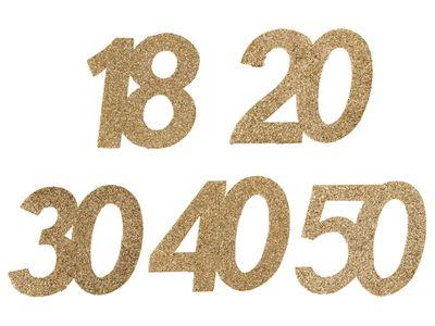 6 Stück Streudeko Geburtstag Tischdeko Zahlen Gold