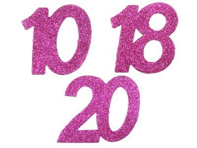 6 Stück Streudeko Geburtstag Tischdeko Zahlen Pink