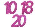 6 Stück Streudeko Geburtstag Tischdeko Zahlen Pink Glitzer Jubiläum Partydeko 1