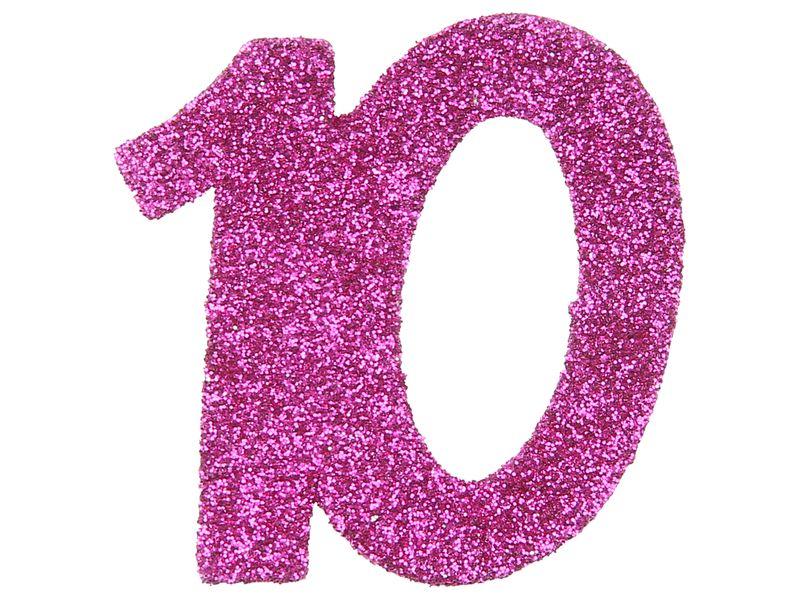 6 Stück Streudeko Geburtstag Tischdeko Zahlen Pink Glitzer Jubiläum Partydeko