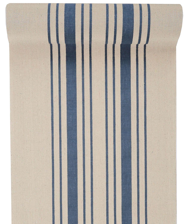 3m Tischläufer Tischband Leinen Baumwolle Streifen Blau Beige Maritim Sommer Garten