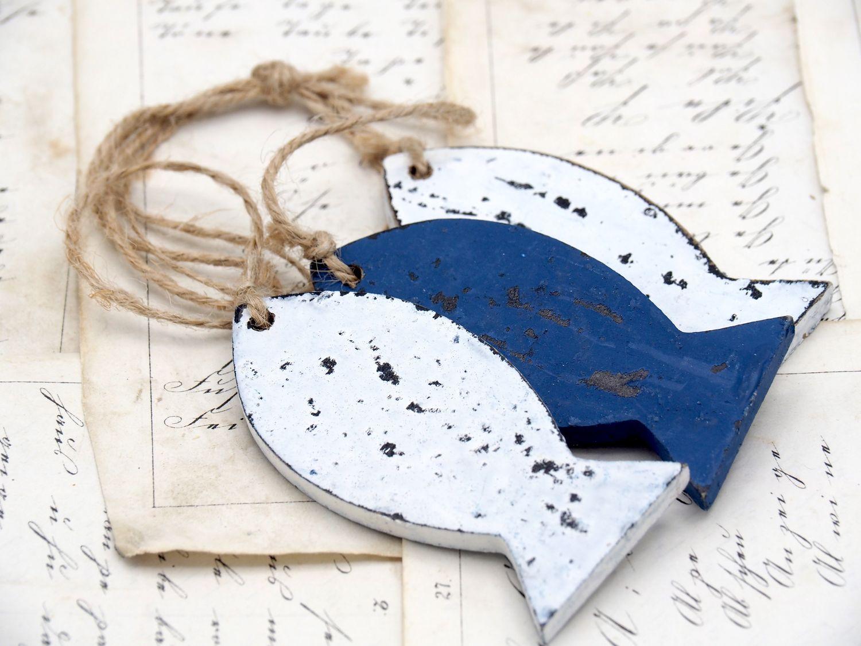 Anhänger Fische Blau Weiß Bad Tischdeko Deko Maritim Kommunion Konfirmation