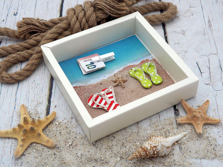 Geldgeschenk Verpackung Reise Urlaub Badesandalen Zehentrenner Strand Meer Strandurlaub Geburtstag