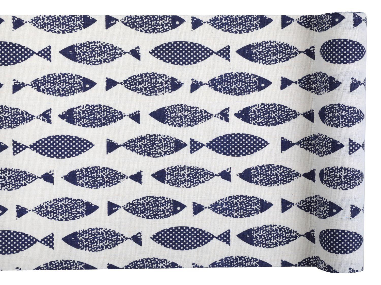 Tischläufer Tischband Baumwolle Motiv Fische 3m Tischdeko Maritim Kommunion Konfirmation
