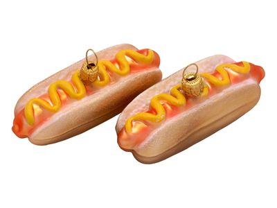 2x Hot Dog Glas Christbaumschmuck
