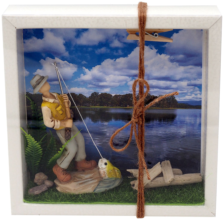 Geldgeschenk Verpackung Angler Quadrat Hobby Fischen Gutschein Angelzubehör Geschenkidee Geburtstag