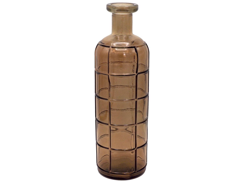 Vase Braun Glas Retro XL Recycelt Blumenvase Relief Glasvase