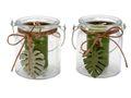 2 Windlichter mit Henkel und Kerze Blätter Kerzenglas Sommer Deko 001
