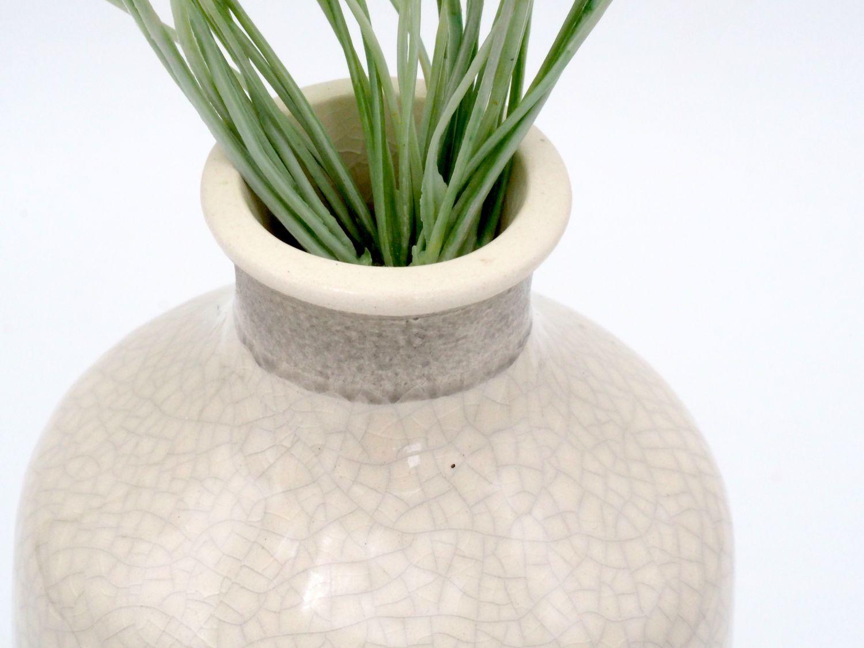 Vase mit Relief Blatt Blumenvase Creme Grün Deko Tischdeko Modern Urwald