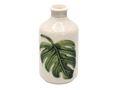 Vase mit Relief Blatt Blumenvase Creme Grün Deko Tischdeko Modern Urwald 1