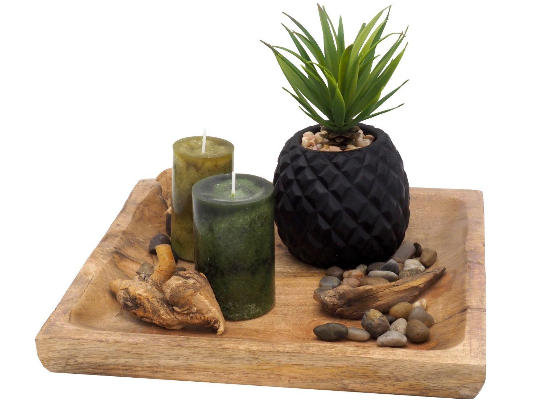Tablett Deko Sukkulente Kerzen Holz Natur Home Sonstige Dekoelemente