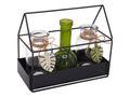 Haus Metall Vasen Glas Blätter Grün Deko Tischdeko Garten Sommer 1
