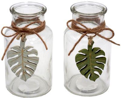 2 Vasen Blätter Natur Holz Grün