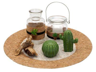 Tablett Deko Kaktus Kork Grün Natur