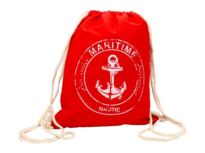 Turnbeutel Gymbeutel Rucksack Anker Maritim Jersey Blau Grau Rot Beutel Tasche Sport Reise