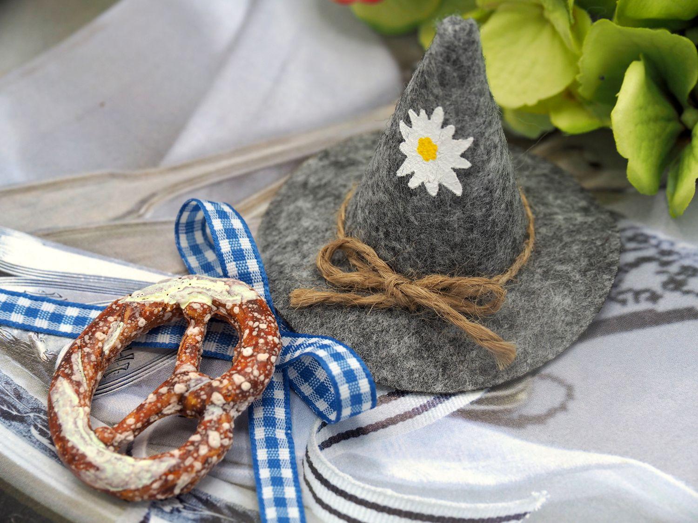 10x Filzhut Oktoberfest Grau Bayrisch Tischdeko Party Streudeko