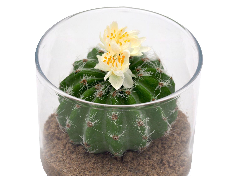 Deko Glas Kaktus Sand Dekoobjekt Tischdeko Kunstblume Kunstpflanze