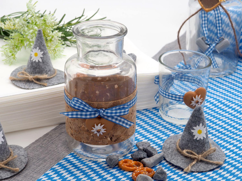 2 Vasen Oktoberfest Bayrisch Blau Tischdeko Deko Party Partydeko