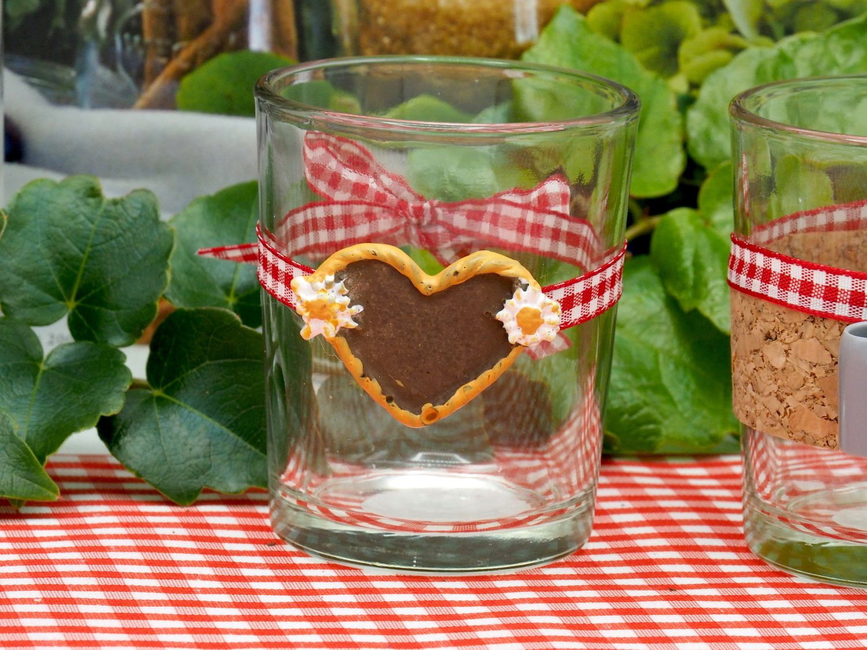 Teelichtglas Oktoberfest Bayrisch Rot Tischdeko Deko Party Partydeko 2 Stück