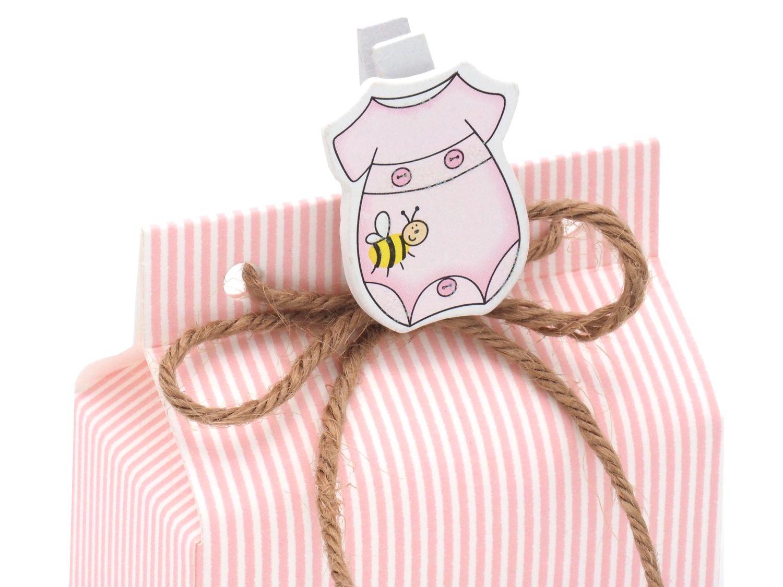 Gastgeschenk Taufe Strampler Rosa Streifen Geburt Mädchen Geschenk Tischdeko