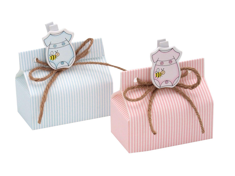 Gastgeschenk Taufe Strampler Rosa Blau Streifen Geburt Junge Mädchen Geschenk Tischdeko
