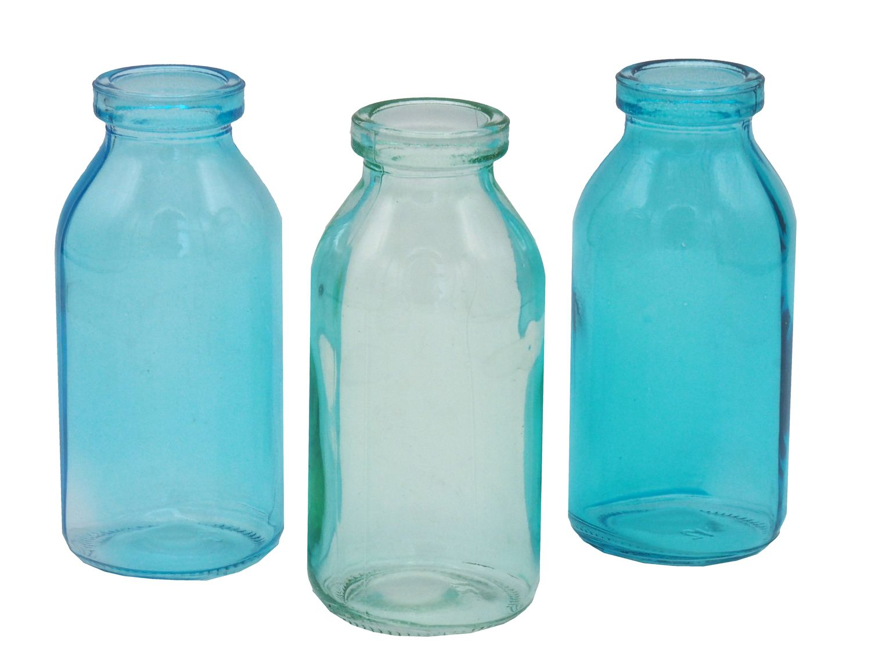 3 Vasen Türkis Glas Tischdeko Glasvase Blumenvase Deko Sommer