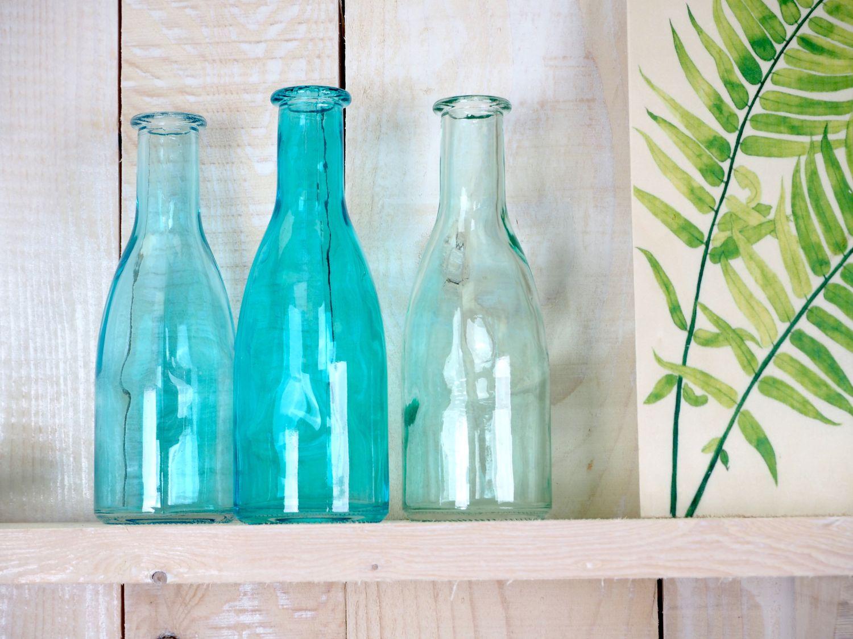 3 Vasen Glasflaschen Türkis Tischdeko Glasvase Blumenvase Deko Sommer